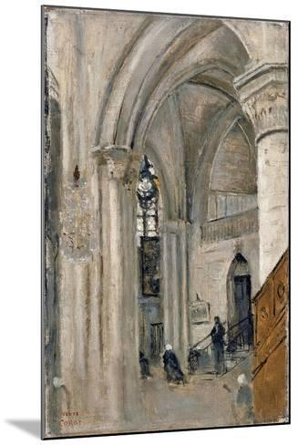 Interior of the Church at Mantes-Jean-Baptiste-Camille Corot-Mounted Giclee Print