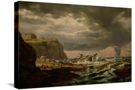 Shipwreck on the Norwegian Coast-Johan Christian Clausen Dahl-Stretched Canvas Print