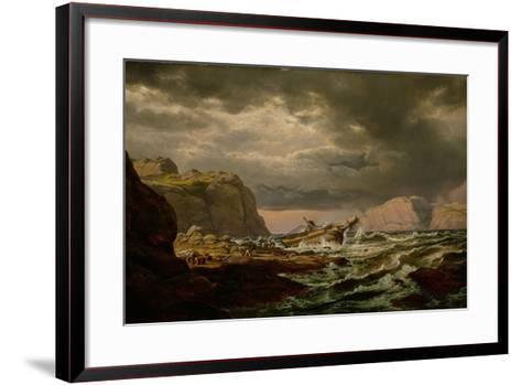 Shipwreck on the Norwegian Coast-Johan Christian Clausen Dahl-Framed Art Print
