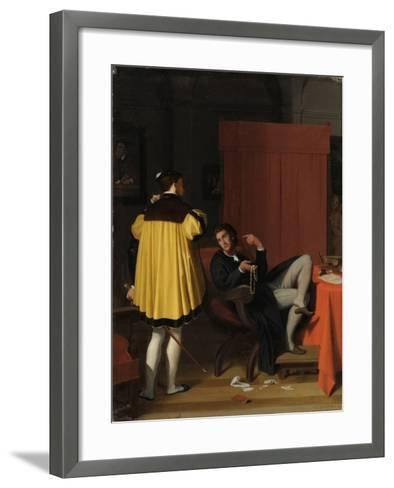 Aretino and the Envoy of Charles V-Jean-Auguste-Dominique Ingres-Framed Art Print