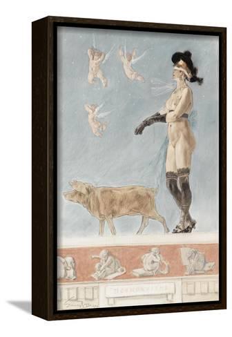 Pornokrates (La Dame Au Cocho)-F?licien Rops-Framed Canvas Print