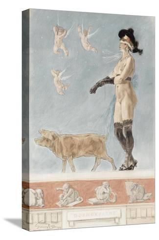 Pornokrates (La Dame Au Cocho)-F?licien Rops-Stretched Canvas Print