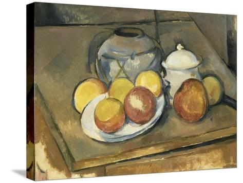 Vase, Sugar Bowl and Apples-Paul C?zanne-Stretched Canvas Print