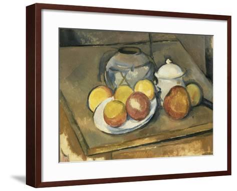 Vase, Sugar Bowl and Apples-Paul C?zanne-Framed Art Print