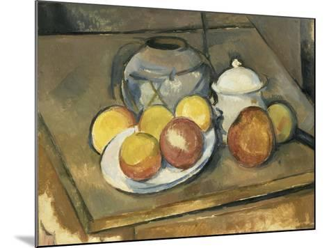 Vase, Sugar Bowl and Apples-Paul C?zanne-Mounted Giclee Print