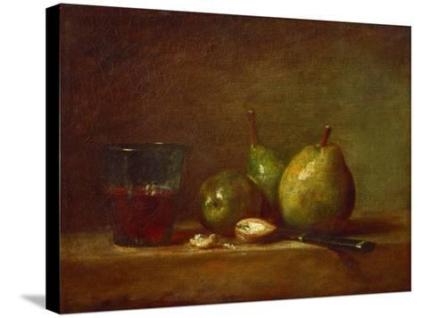Pears, Walnuts and Glass of Wine-Jean-Baptiste Simeon Chardin-Stretched Canvas Print