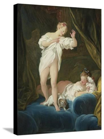 Two Girls on a Bed Playing with their Dogs-Jean-Honor? Fragonard-Stretched Canvas Print