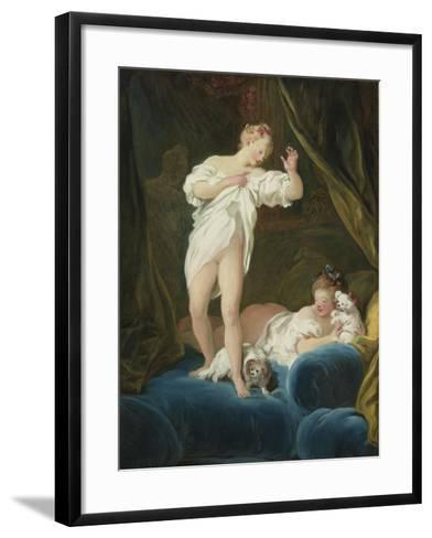Two Girls on a Bed Playing with their Dogs-Jean-Honor? Fragonard-Framed Art Print