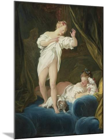 Two Girls on a Bed Playing with their Dogs-Jean-Honor? Fragonard-Mounted Giclee Print