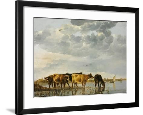 Cows in a River-Aelbert Cuyp-Framed Art Print
