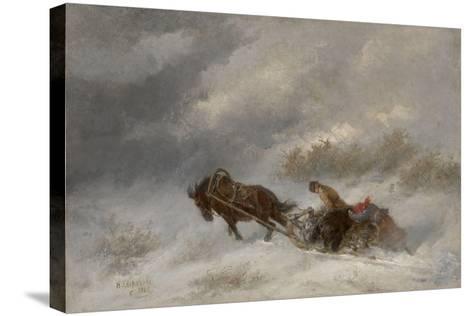 Bear Hunters in the Blizzard-Nikolai Yegorovich Sverchkov-Stretched Canvas Print