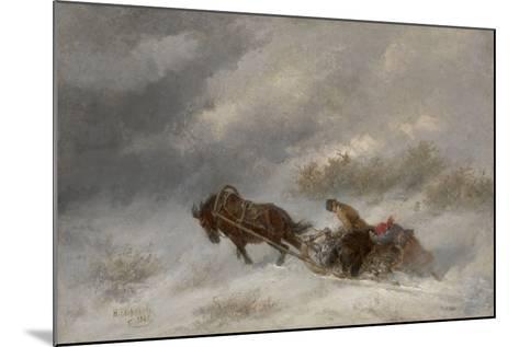 Bear Hunters in the Blizzard-Nikolai Yegorovich Sverchkov-Mounted Giclee Print