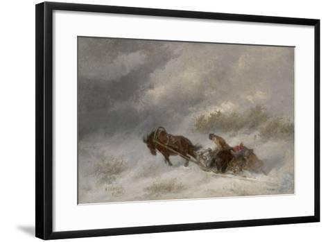 Bear Hunters in the Blizzard-Nikolai Yegorovich Sverchkov-Framed Art Print
