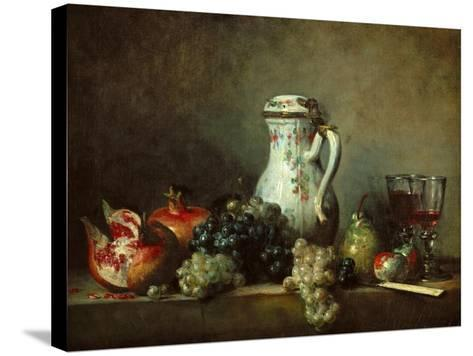 Grapes and Pomegranates-Jean-Baptiste Simeon Chardin-Stretched Canvas Print