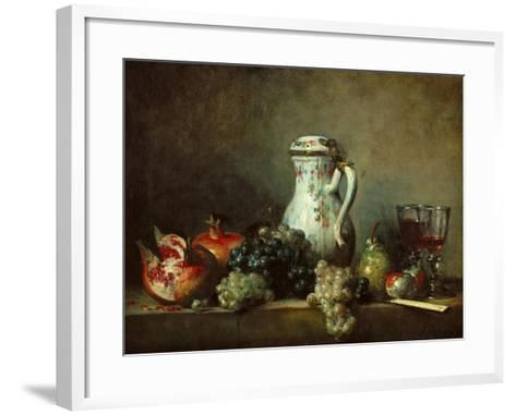 Grapes and Pomegranates-Jean-Baptiste Simeon Chardin-Framed Art Print