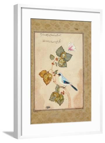 A Bird on a Hazel Branch-Muhammad Shafi Abbasi-Framed Art Print