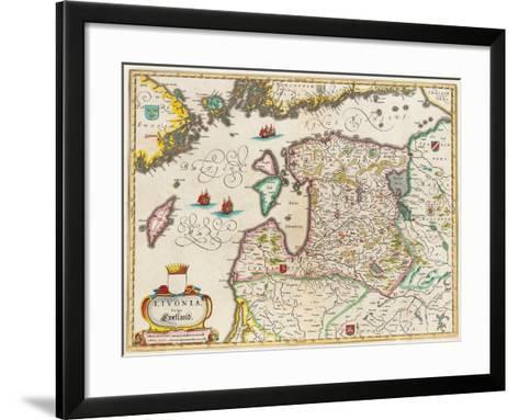 Livonia Map, Vulgo Lyefland, Atlas Maior-Joan Blaeu-Framed Art Print