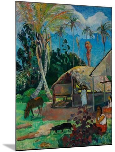 The Black Pigs-Paul Gauguin-Mounted Giclee Print