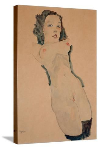 Reclining Nude with Black Stockings-Egon Schiele-Stretched Canvas Print