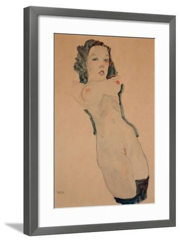 Reclining Nude with Black Stockings-Egon Schiele-Framed Art Print
