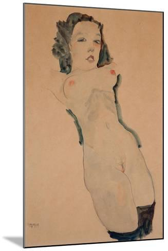 Reclining Nude with Black Stockings-Egon Schiele-Mounted Giclee Print