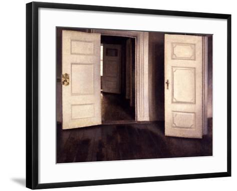 Open Doors-Vilhelm Hammershoi-Framed Art Print