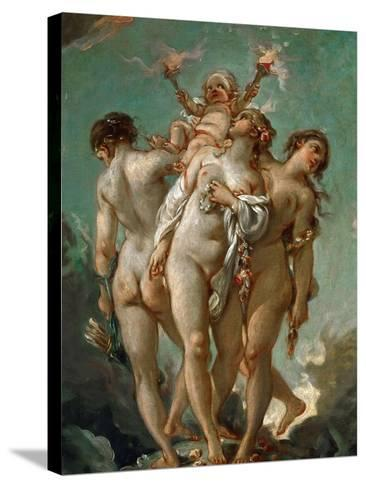 The Three Graces Holding Cupid-Fran?ois Boucher-Stretched Canvas Print