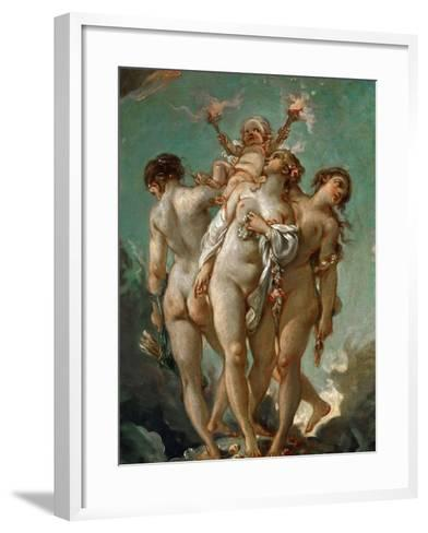The Three Graces Holding Cupid-Fran?ois Boucher-Framed Art Print