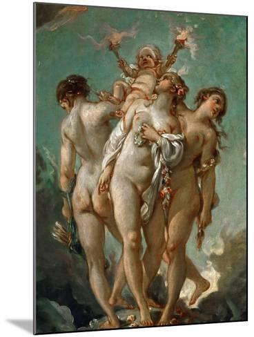 The Three Graces Holding Cupid-Fran?ois Boucher-Mounted Giclee Print