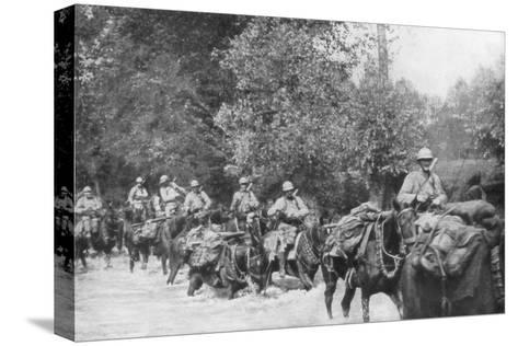 The Re-Supply of a Machine Gun Unit by Horseback, Aisne, France, 2 September 1918--Stretched Canvas Print
