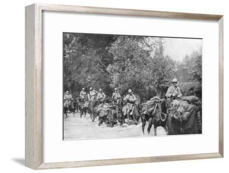 The Re-Supply of a Machine Gun Unit by Horseback, Aisne, France, 2 September 1918--Framed Art Print