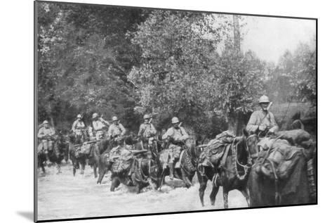 The Re-Supply of a Machine Gun Unit by Horseback, Aisne, France, 2 September 1918--Mounted Giclee Print