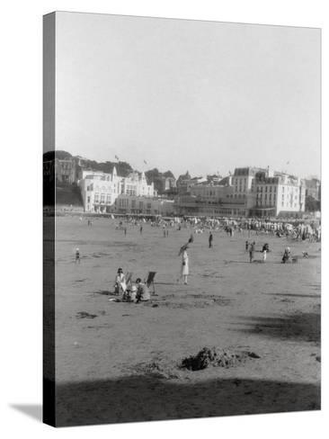 The Beach, Dinard, Brittany, 20th Century--Stretched Canvas Print