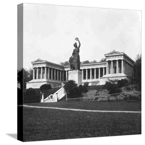 The Ruhmeshalle and Bavaria Statue, Munich, Germany, C1900-Wurthle & Sons-Stretched Canvas Print