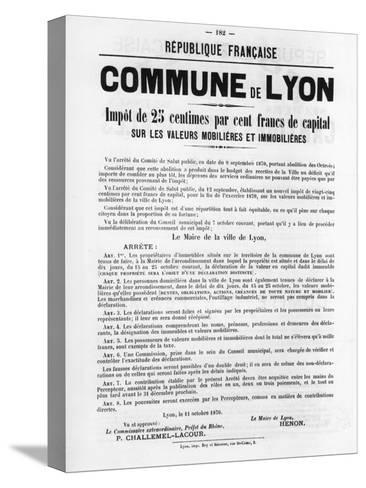 Commune De Lyon, from French Political Posters of the Paris Commune, May 1871--Stretched Canvas Print