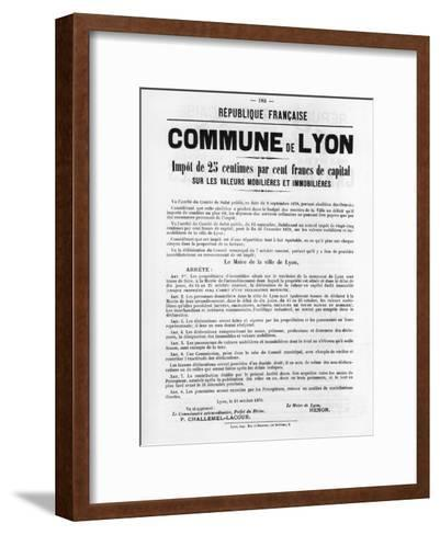 Commune De Lyon, from French Political Posters of the Paris Commune, May 1871--Framed Art Print