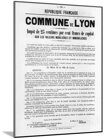 Commune De Lyon, from French Political Posters of the Paris Commune, May 1871--Mounted Giclee Print