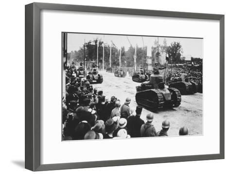 Tanks in the Great Victory Parade, Paris, France, 14 July 1919--Framed Art Print