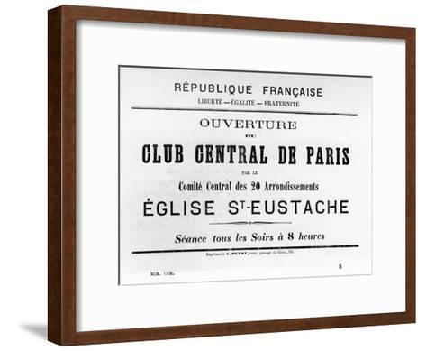Club Central De Paris, from French Political Posters of the Paris Commune, May 1871--Framed Art Print