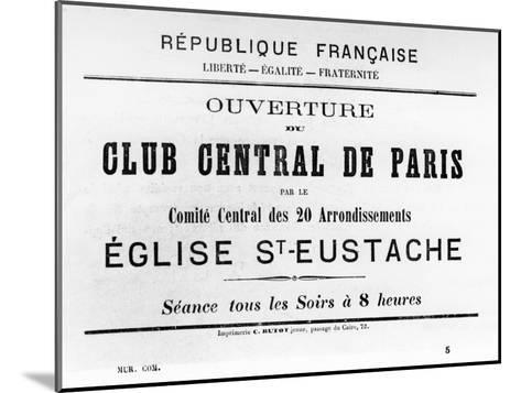 Club Central De Paris, from French Political Posters of the Paris Commune, May 1871--Mounted Giclee Print