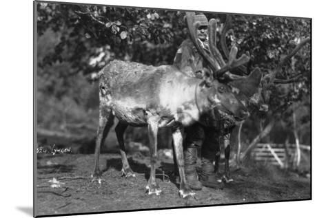 Local Man with a Reindeer, Lyngen, Northern Norway, C1920S-C1930S--Mounted Giclee Print