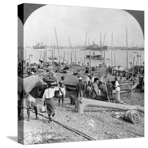 Harbour of Rangoon on the Irawaddy River, Burma, 1908--Stretched Canvas Print
