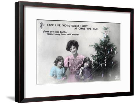 No Place Like Home Sweet Home at Christmas Time, Greetings Card, C1900-1919- Schwerdffeger & Co-Framed Art Print