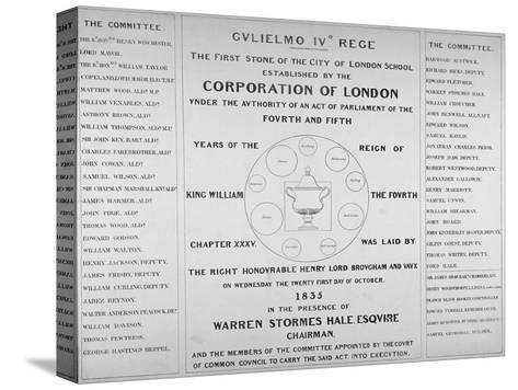 Copy of the Inscription from the First Stone of the City of London School, 1835--Stretched Canvas Print