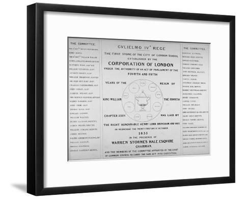 Copy of the Inscription from the First Stone of the City of London School, 1835--Framed Art Print