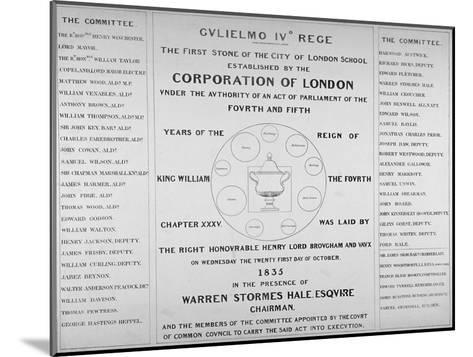 Copy of the Inscription from the First Stone of the City of London School, 1835--Mounted Giclee Print