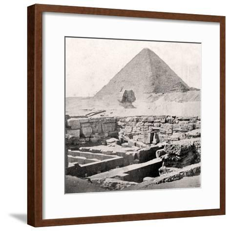 The Sphinx and the Great Pyramid, Egypt, Early 20th Century--Framed Art Print
