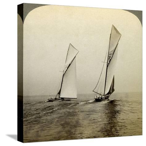 Shamrock I and Shamrock III in a Trial Race Off Sandy Hook, USA-Underwood & Underwood-Stretched Canvas Print