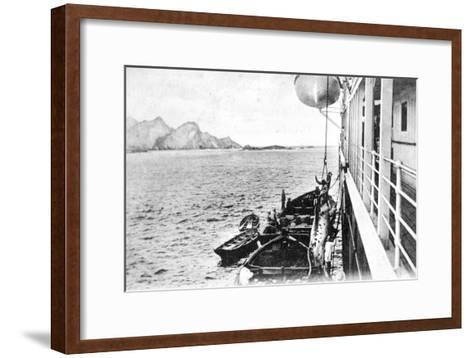 Winching a Cow onto a Boat Off the Coast of Chile, C1900s--Framed Art Print