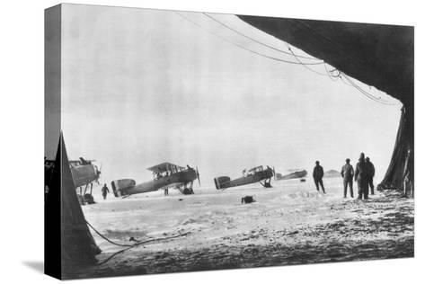 Departure of French Breguet Planes for a Reconnaissance Mission During Winter, 1914-1918--Stretched Canvas Print